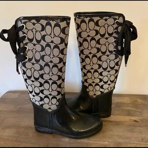 Authentic Coach Tristee gray and black rain boots